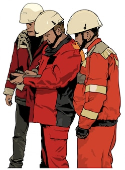 Group of service workers