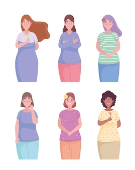 Group of six girls friends avatars characters  illustration
