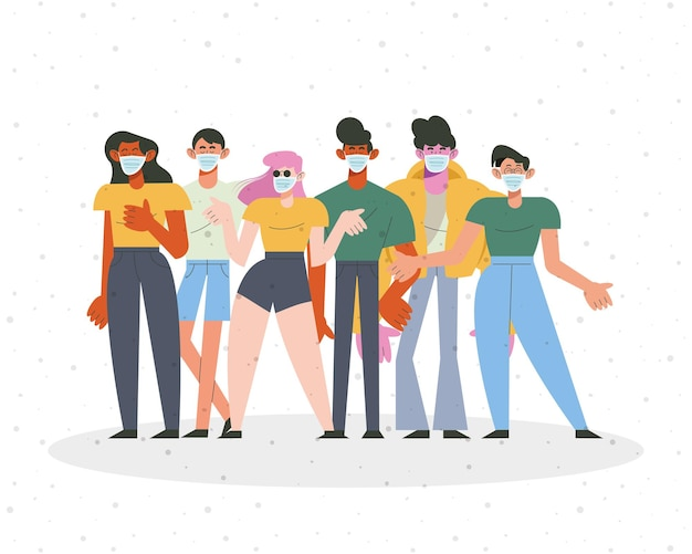 Group of six persons wearing medical masks characters  illustration