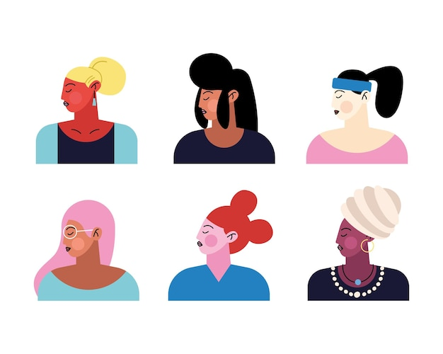 Group of six young girls characters  illustration
