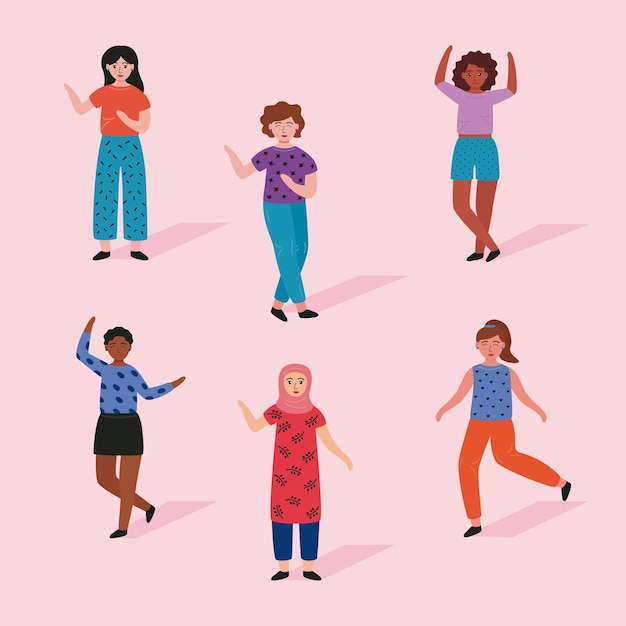 Group of six young women standing avatars characters  illustration