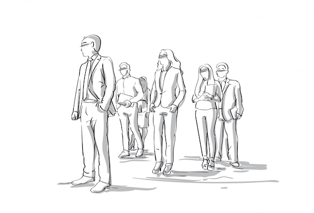 Group of sketch businesspeople business men and women crowd full length