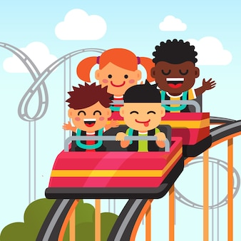 Group of smiling kids riding roller coaster