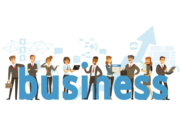 Group of smiling office people holding the word business cartoon colorful  illustration