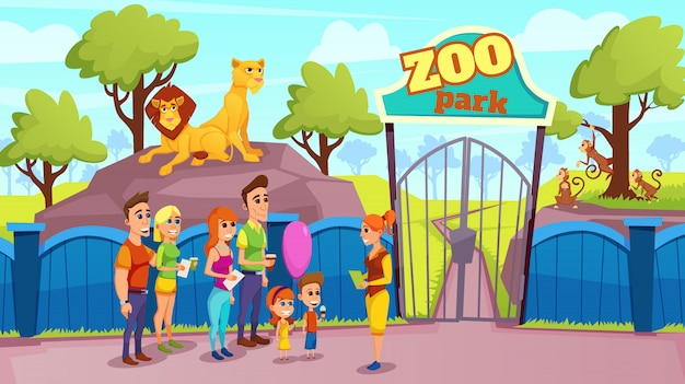 Group smiling people and guide at zoo gate vector
