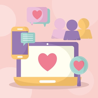 Group of social media icons over a pink illustration design