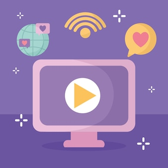 Group of social media icons in a purple illustration design