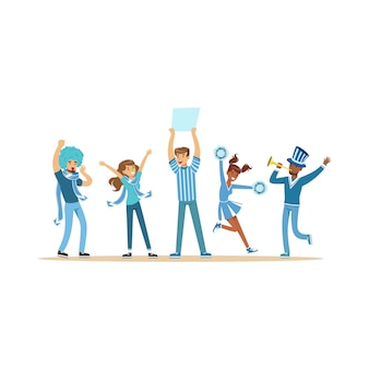 Group of sport fans in blue outfit supporting their team shouting and cheering  illustration