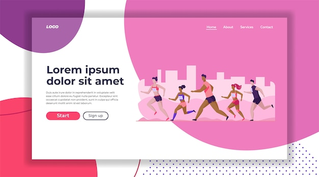Group of sportsmen running marathon landing page template