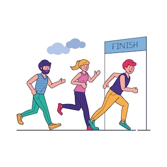 Group of sportsmen running marathon vector illustration