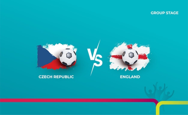 Group stage czech republic and england. vector illustration of football 2020 matches