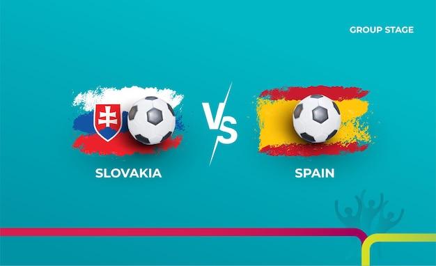 Групповой этап словакия и испания. векторная иллюстрация футбольных матчей 2020