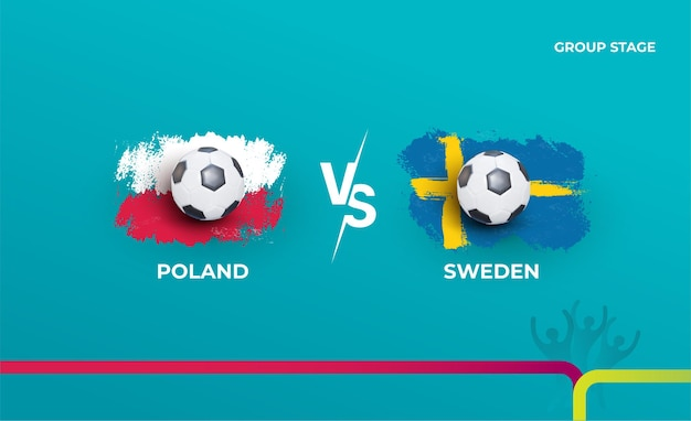 조별리그 스웨덴과 폴란드. 축구 2020 경기의 벡터 일러스트 레이 션