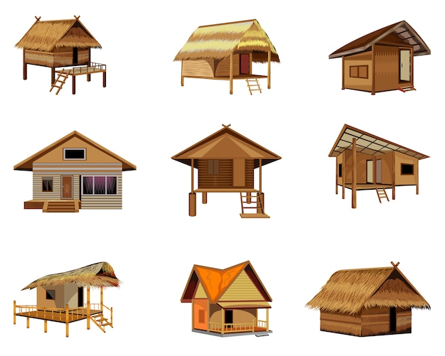 Group of straw hut vector design