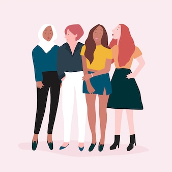 Group of strong women vector