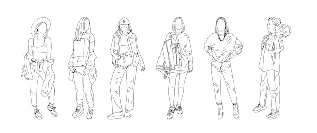 A group of stylish female students posing in youth clothing. linear style. vector illustration.