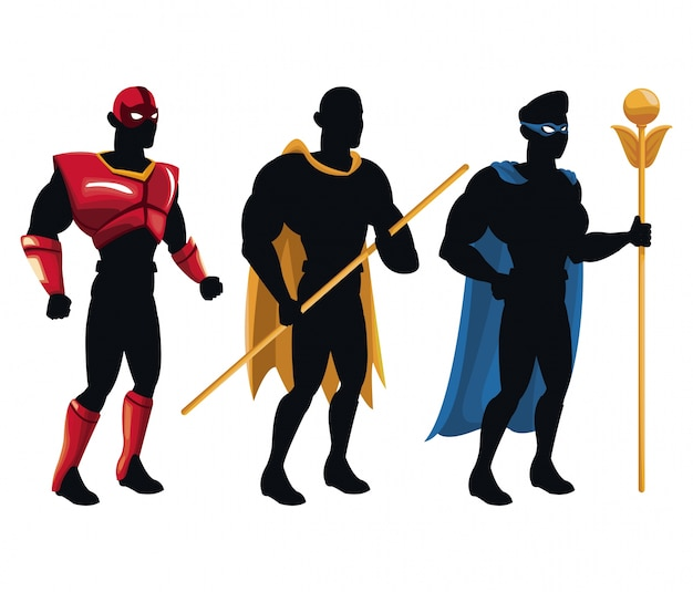 Group superhero people costume character