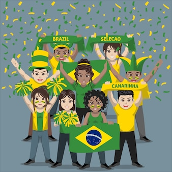 Group of supporter from brazil national football team