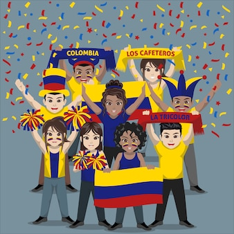 Group of supporter from colombia national football team