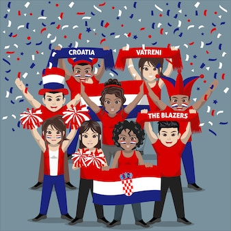 Group of supporter from croatia national football team