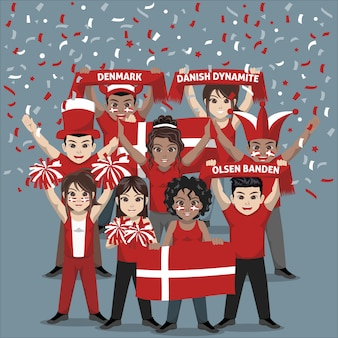 Group of supporter from denmark national football team