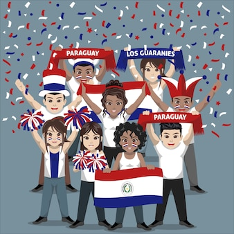 Group of supporter from paraguay national football team