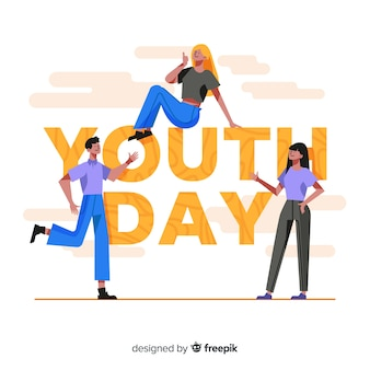 Group of teenagers celebrating youth day on flat design
