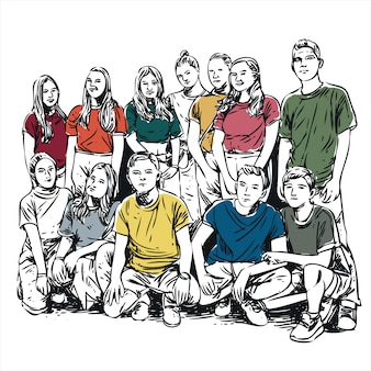Group of teens boys and girls line artwork