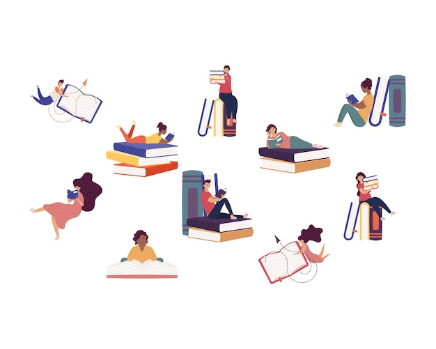 Group of ten readers with books ,book day celebration illustration design