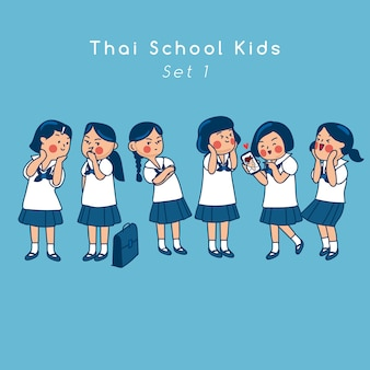 Group of thai secondary school kids isolated on background  vector illustration