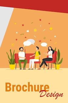 Concetto di terapia di gruppo. persone che si incontrano e parlano, discutono di problemi, danno e ricevono sostegno. illustrazione vettoriale per consulenza, dipendenza, lavoro psicologo, concetto di sessione di supporto.