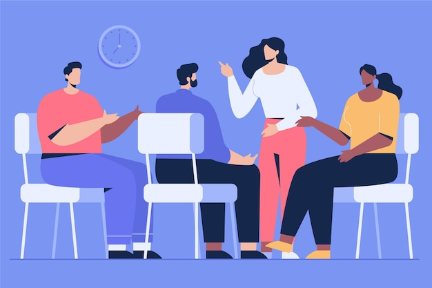 Design piatto di terapia di gruppo