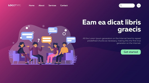 Group therapy flat illustration. landing page or web template