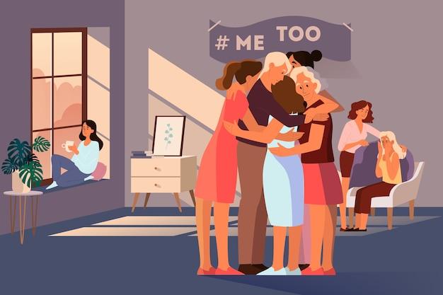 Групповая терапия для женщин, подвергшихся насилию и домогательствам. поддержка молодых женщин. движение me too. идея заботы и человечности. иллюстрация