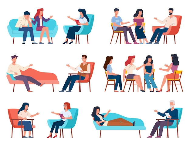 Group therapy. men and women talking to psychotherapist or psychologist. psychoanalysis and family psychotherapy, mental problems counseling and therapy with support group vector characters collection
