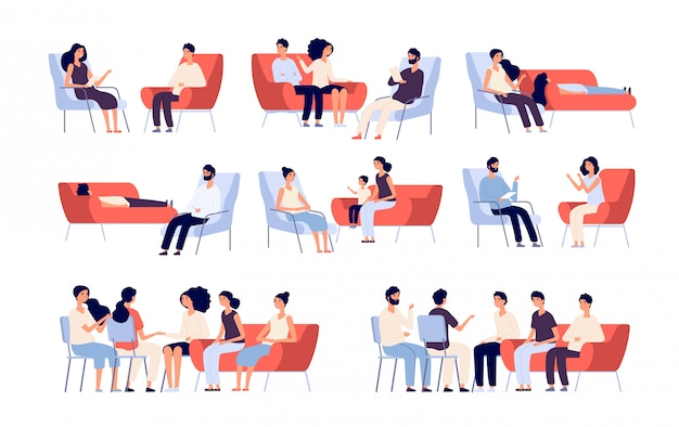グループ療法。心理学者、心理療法士と話している人と相談している人々の群衆。