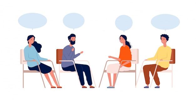 グループ療法。心理学者が座っているヘルプメンターセッション中毒治療のキャラクター