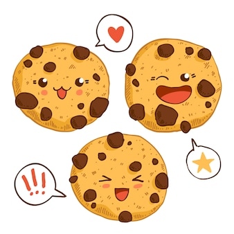 Group of three cute kawaii cookies with chocolste chips.