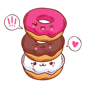 Group of three cute kawaii donuts.