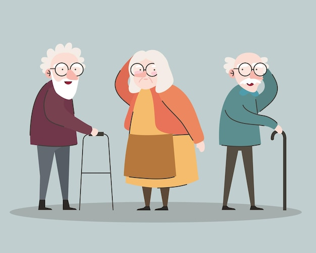 Group of three grandparents using walker and cane characters vector illustration design