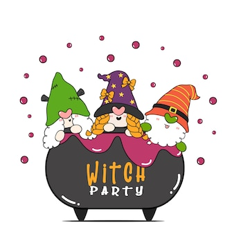 Group of three happy halloween witch gnome party in poison brew pot cauldron flat cartoon character