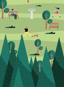 Group of three persons practicing activities in the park illustration design