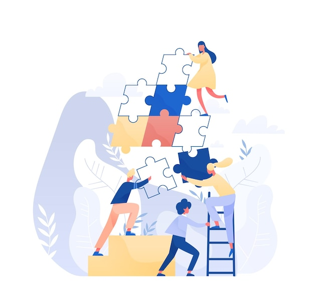 Group of tiny office workers or employees assembling together giant jigsaw puzzle pieces