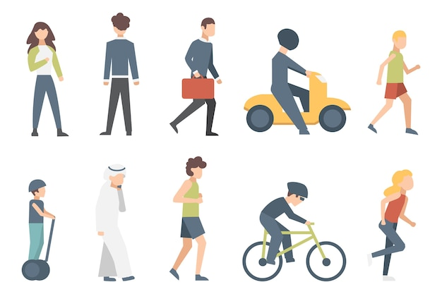 Group of tiny people riding bikes on city street. illustration of male and female  cartoon characters isolated.