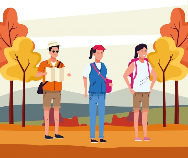 Group of tourist people doing activities in the autumn landscape illustration