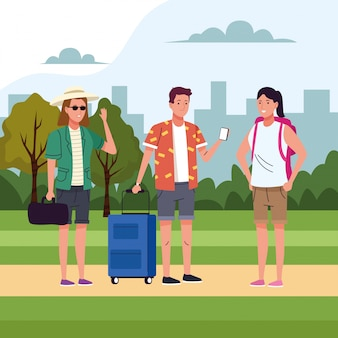 Group of tourist people doing activities in the field illustration