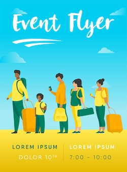 Group of tourist with luggage standing in line flyer template