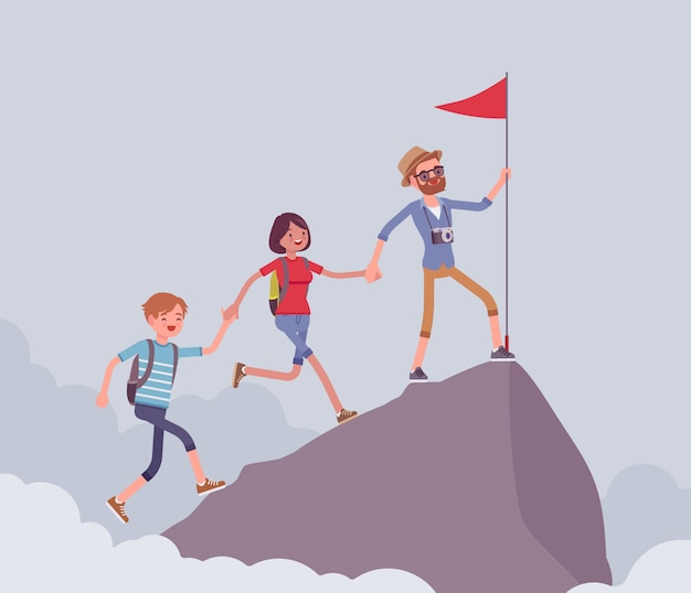 Group of tourists conquering mountain top. hiking friends accomplishing a desired aim to reach highest, uppermost point, put a red flag, extreme summer activity.   style cartoon illustration