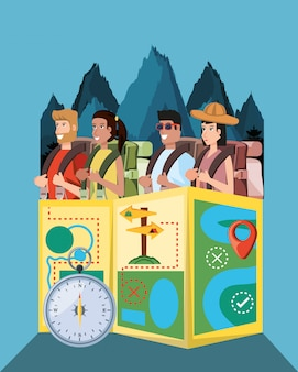 Group of tourists and set icons