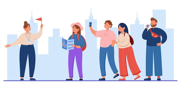 Group of tourists travelling with guide holding flag. flat illustration